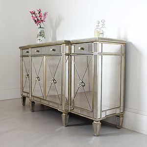 Long Antique Mirrored Sideboard - furniture