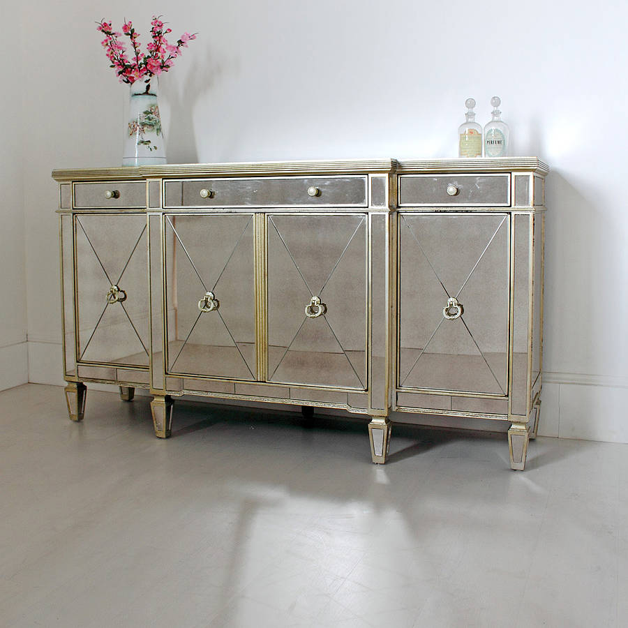Long antique mirrored sideboard by out there interiors for Sideboard glas