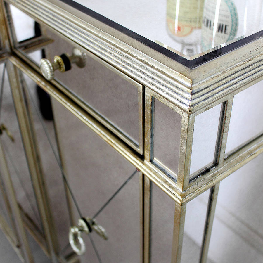 Long Antique Mirrored Sideboard By Out There Interiors