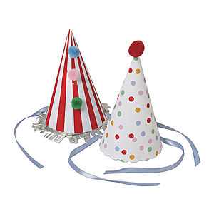 Set Of Eight Stripes And Spots Party Hats - fancy dress