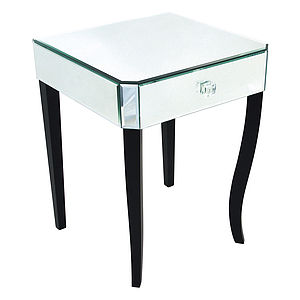 Single Drawer Mirrored Bedside Table - furniture