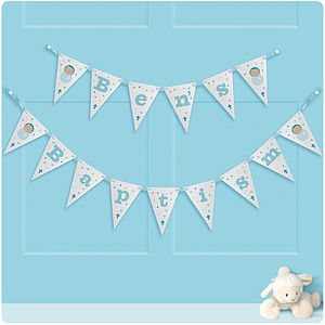Personalised Boy's Christening Bunting - children's room accessories