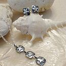 Silver Flower Charm Pendant And Earring Set