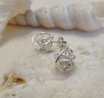 Bound Sphere Silver Stud Earrings