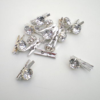 Set Of Mini Pegs With Diamond Beads