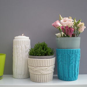 Knitted Vase Cosies - candles