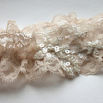 Vintage Blush Wedding Garter