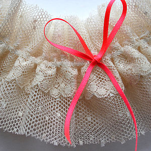 Cotton Tulle And Neon Bow Wedding Garter - wedding fashion