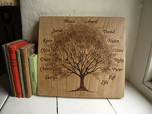 Personalised Hand Engraved Family Tree On Antique Oak - prints for families