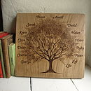 Personalised Hand Engraved Family Tree On Antique Oak