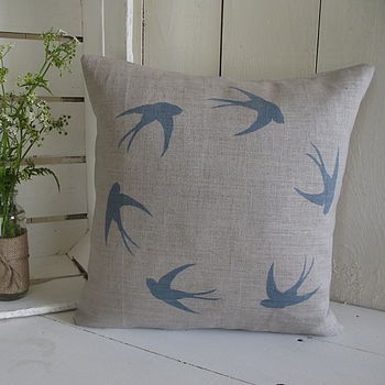 Pure Irish Linen Swallow Cushion Cover