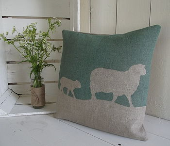 Hand Printed Pure Irish Linen Sheep Cushion
