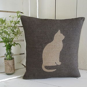 ' Cat ' Hessian Cushion - cushions