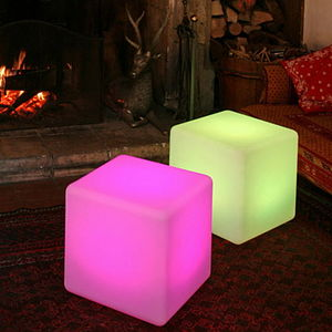 Colour Changing Outdoor Light Cube - bedside chests & tables