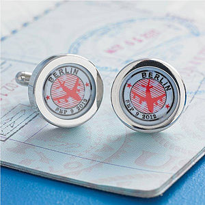 Personalised Travel Stamp Cufflinks - cufflinks