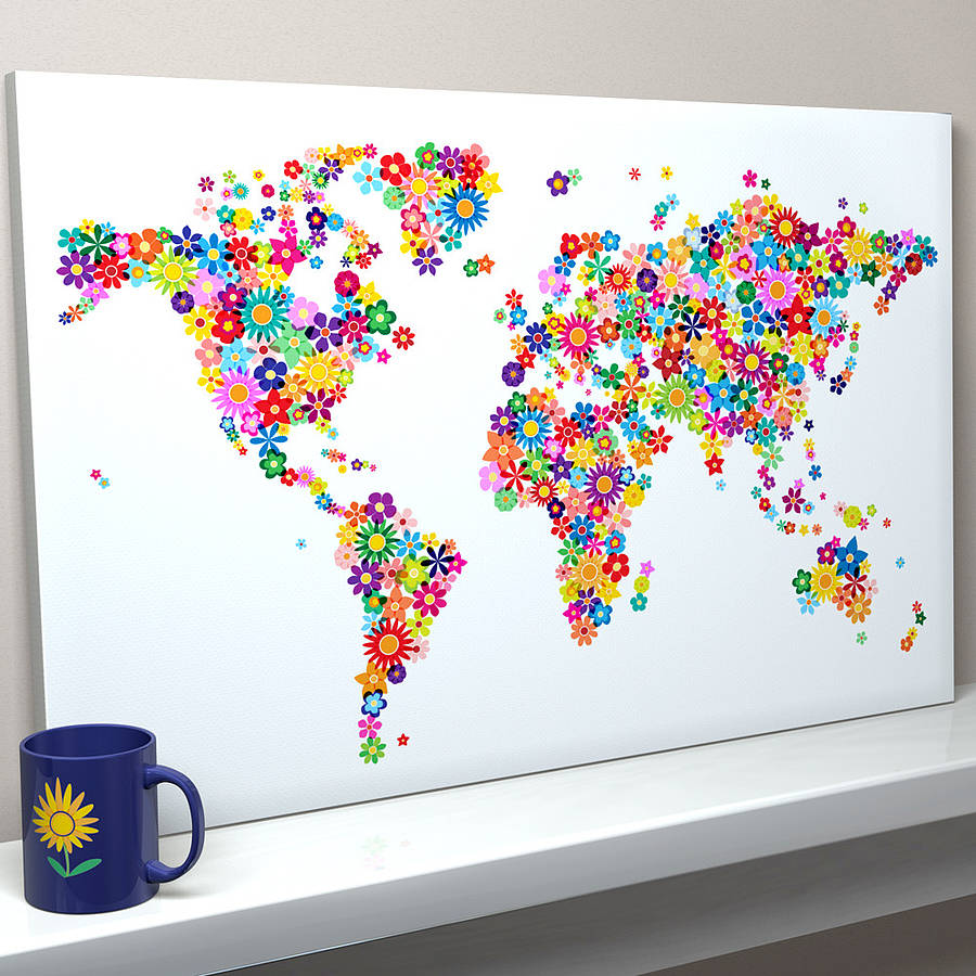 flowers map of the world art print by artpause