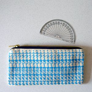 'Number Crunch' Printed Canvas Slimline Pencil Case - stationery