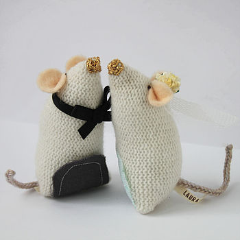 Knitted Mice Wedding Cake Toppers