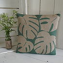 Hessian Leaf Print Cushion