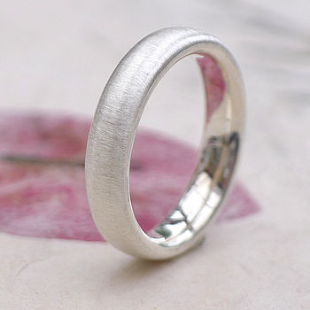 Sterling Silver Ring With Spun Silk Finish