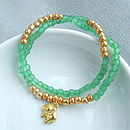 Green And Gold Double Wrap Charity Bracelet