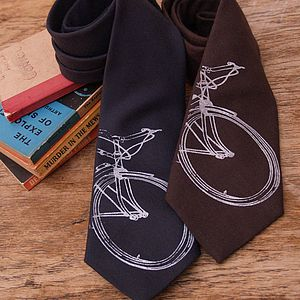 Wool Bike Print Tie - gifts for cyclists