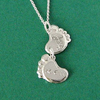 Baby Feet Weight And Date Pendant