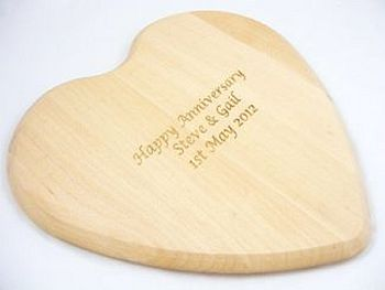 Personalised Solid Beech Heart Shaped Board