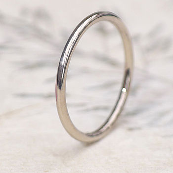 Slim Halo Wedding Ring In 18ct White Gold