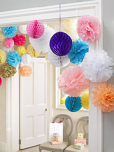 Three Mixed Colour Honeycomb Decorations - table decorations