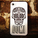 Personalised Monochrome Skull Case For IPhone
