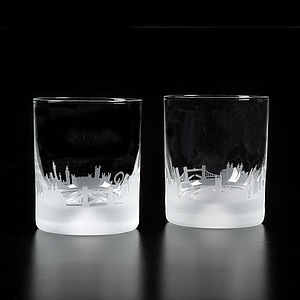 Pair Of London Skyline Crystal Tumblers - drink & barware