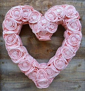 Sola Rose Pink Heart Wreath - weddings sale