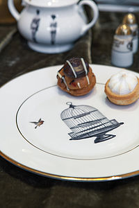 Birdcage And Bird Bone China Plate
