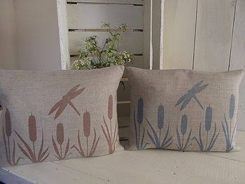 ' Dragonfly And Bulrush ' Linen Cushion