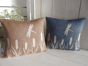 Dragonfly And Bulrush Hessian Cushion
