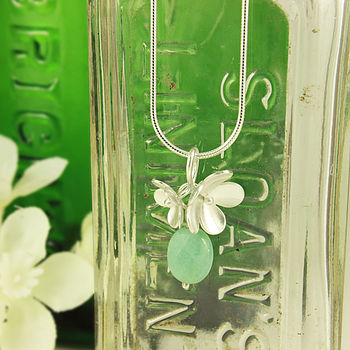 Silver Blossom And Amazonite Necklace