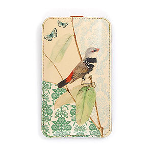 Bird On Branch Leather Phone Case - bags & purses
