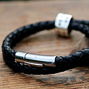 Personalised Black Wrapped Leather Bracelet