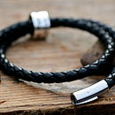Personalised Black Wrapped Mens Leather Bracelet