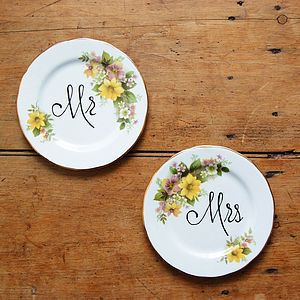 Set Of 'Mr' And 'Mrs' Chatty Vintage Plates - room decorations