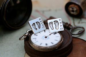 Footprints In The Sand Square Cufflinks - cufflinks