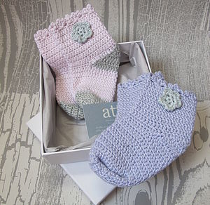 Hand Crochet Baby Bamboo Socks - socks, tights & booties