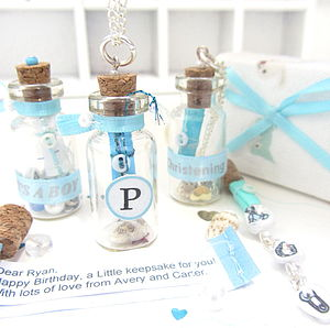 Personalised Baby & Boy Message Bottle Token