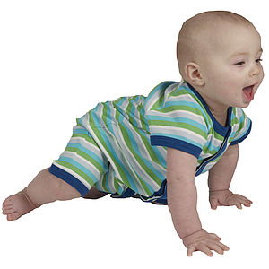 Boy's Short Sleeve Stripy Playsuit - organic & fairtrade clothing