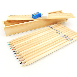 Personalised Retro Wooden Pencil Set - gifts for her