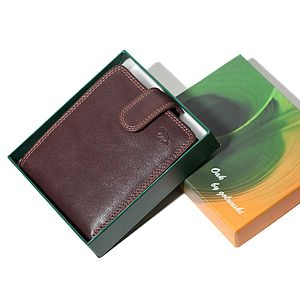 Oak Flap Over Leather Wallet - wallets & money clips
