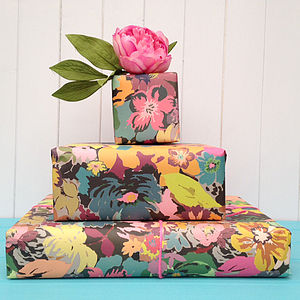 Big Bloom Wrapping Paper Two Sheets - ribbon & wrap