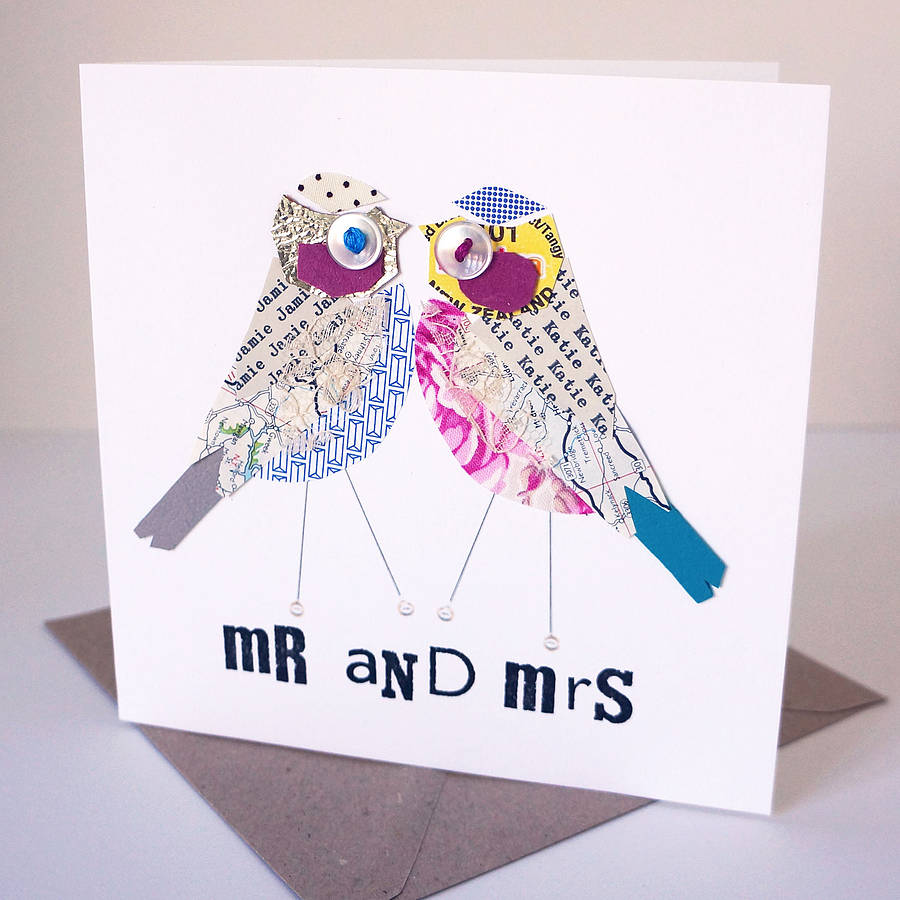 personalised mr and mrs wedding card by pratt factory