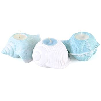 Set Of Three Shell Candles